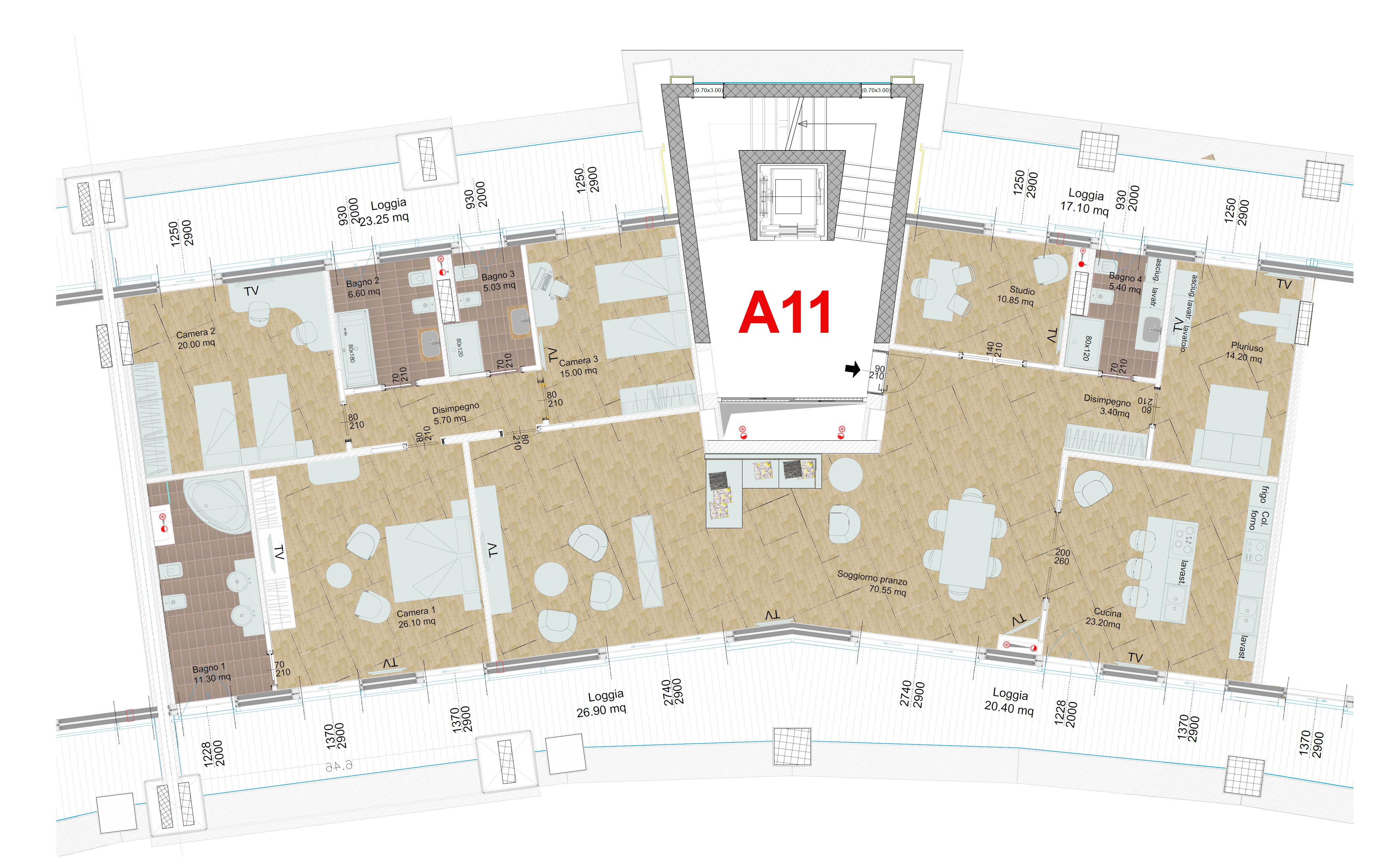 Area residenziale piano quinto – Crescent Salerno