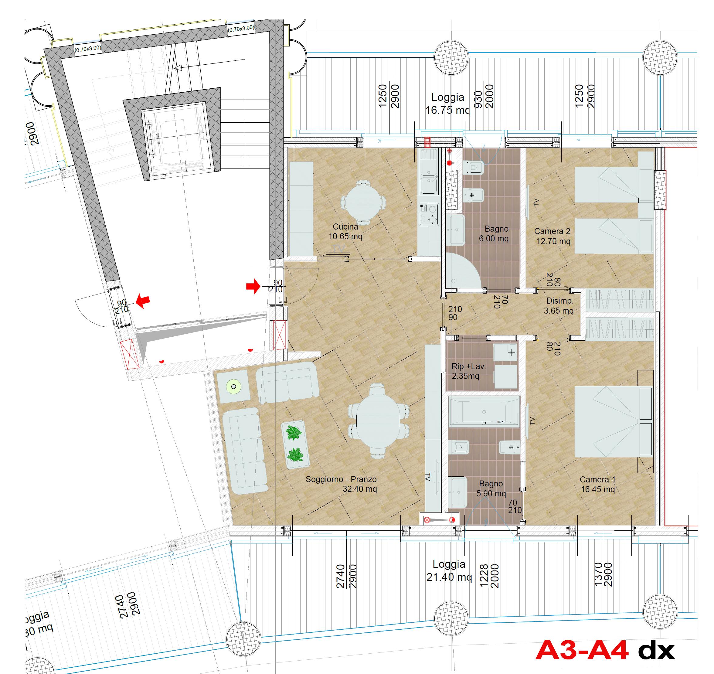 Area residenziale piano secondo – Crescent Salerno